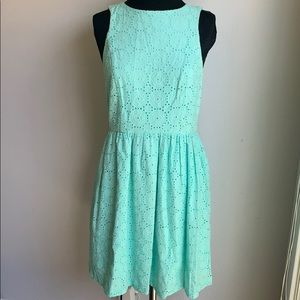 Mint eyelet fit and flare dress